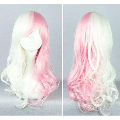 Danganronpa Monomi モノミ/ウサミ Pink/White Long Curly Wig Free Ship SP141174 #spreepicky #PlusSize
