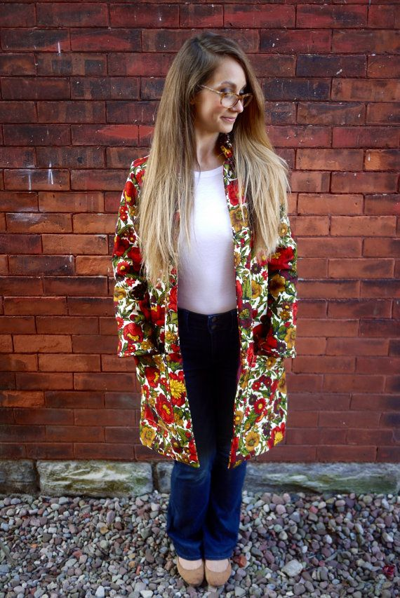 Floral Printed Long CoatCoat with by Clementinyclothing on Etsy