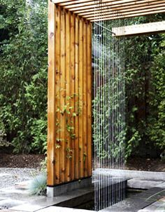 At one end of the pergola, an airy waterfall designed by architect Lance Kaprielian is simple but stunning