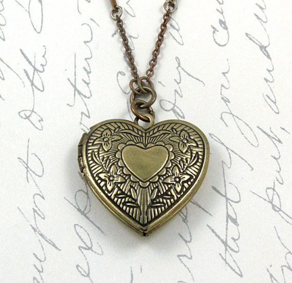 Heart Locket Necklace Wedding Day Locket by laurenblythedesigns on Etsy...Bar links