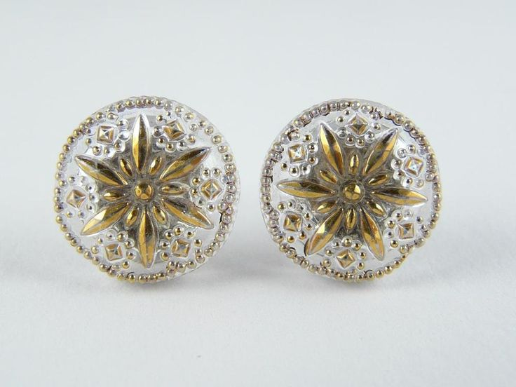 "Czech Unique Glass Earrings Stud Solid 925/1000 Sterling Silver 13mm - 1/2"" #CzechArt77 #Stud"