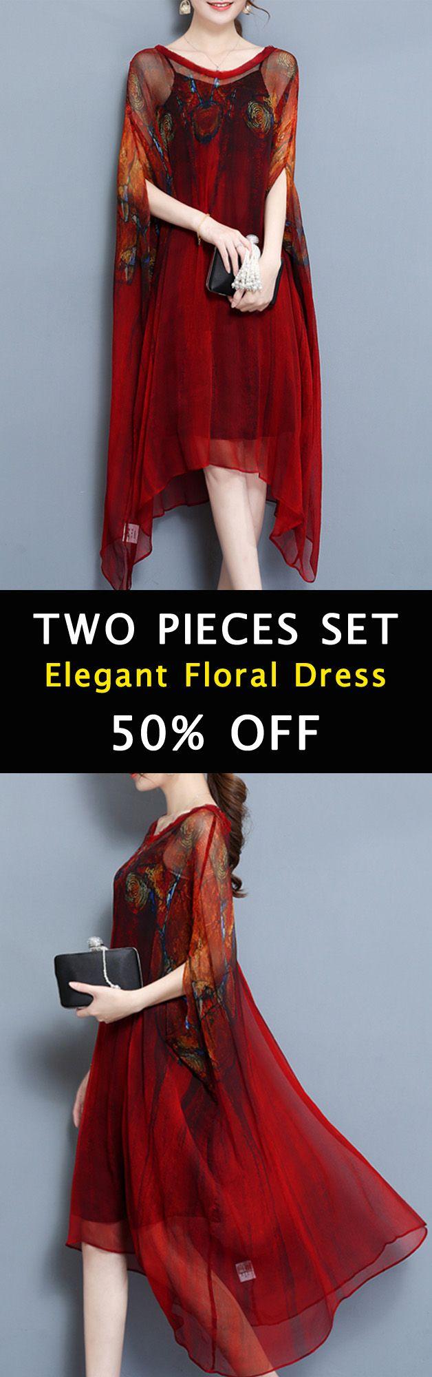 Elegant Two Piece Batwing Sleeve Printed Irregular Hem Dress For Women. #women #dresses #2018