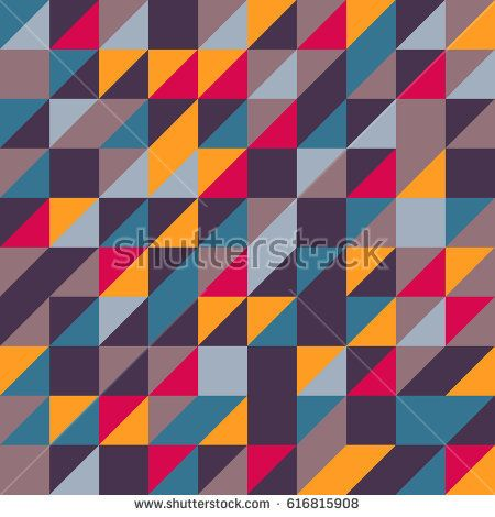 Vector pink-blue-yellow abstract triangle seamless pattern texture background