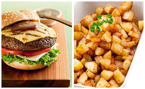 Cheeseburger sauce barbecue et pommes rissolées maison