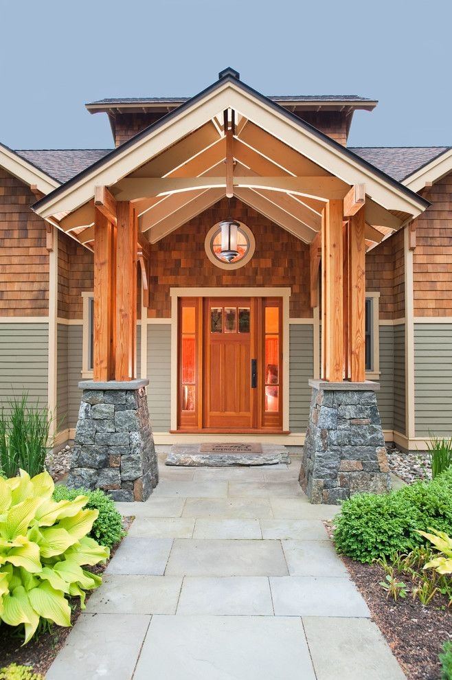 Craftsman Front Doors, Craftsman Porch, Facade House