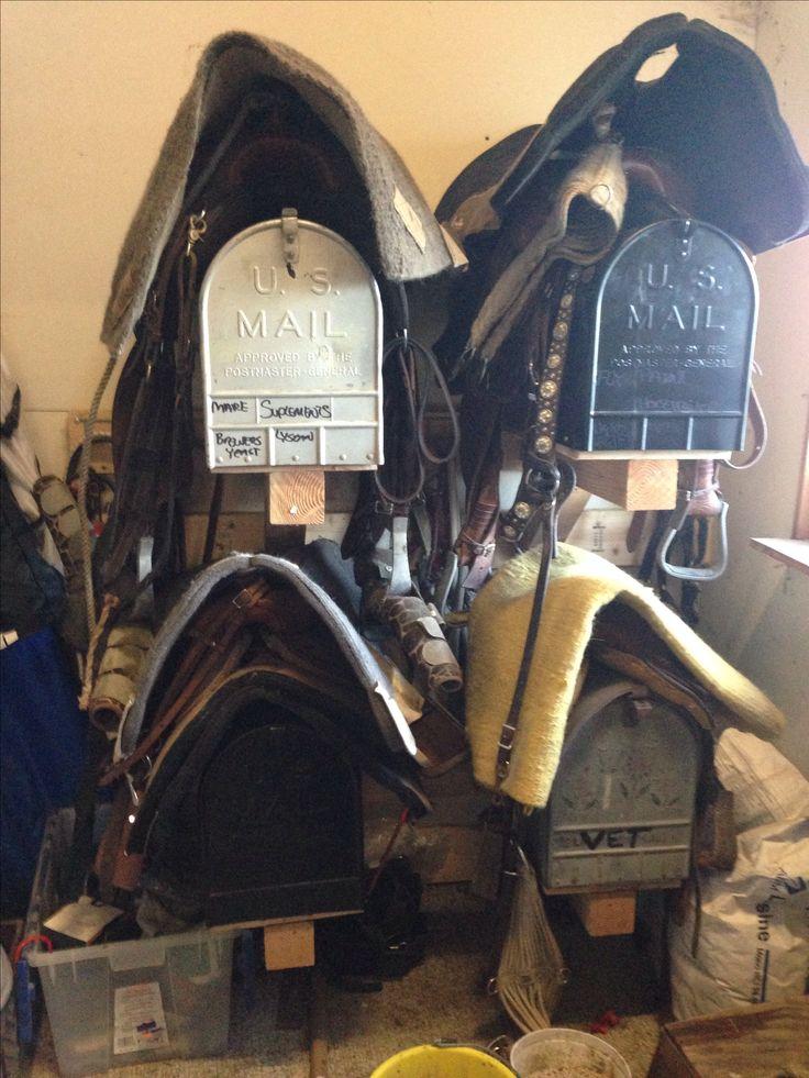 Great idea - mailboxes as saddle racks. Extra storage