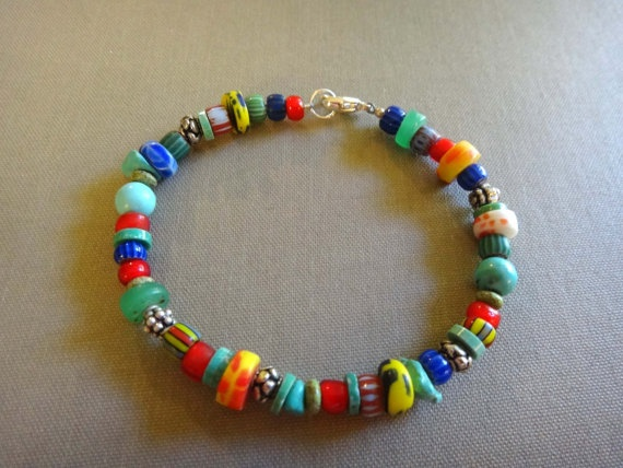 .: Trade Beads, Heart Bracelet, Diy Jewelry, Diy Bracelet, African Trade