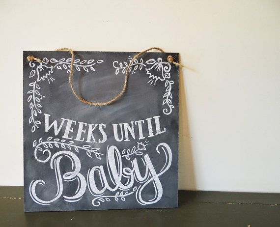 Floral Baby Countdown Sign-  Baby Chalkboard - Chalkboard Art - Pregnancy Announcement - Gift For Mom To Be
