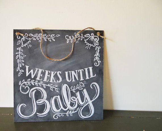Floral Baby Countdown Sign- Baby Chalkboard - Chalkboard Art - Pregnancy…