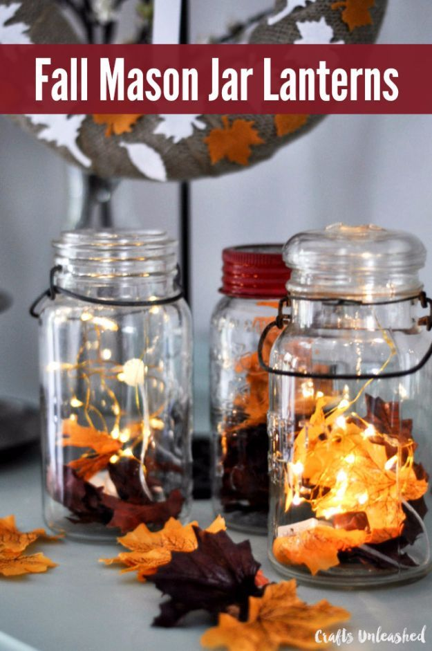 Best Mason Jar Crafts for Fall - Fall Mason Jar Lanterns - DIY Mason Jar Ideas for Centerpieces, Wedding Decorations, Homemade Gifts, Craft Projects with Leaves, Flowers and Burlap, Painted Art, Candles and Luminaries for Cool Home Decor http://diyjoy.com/mason-jar-crafts-fall