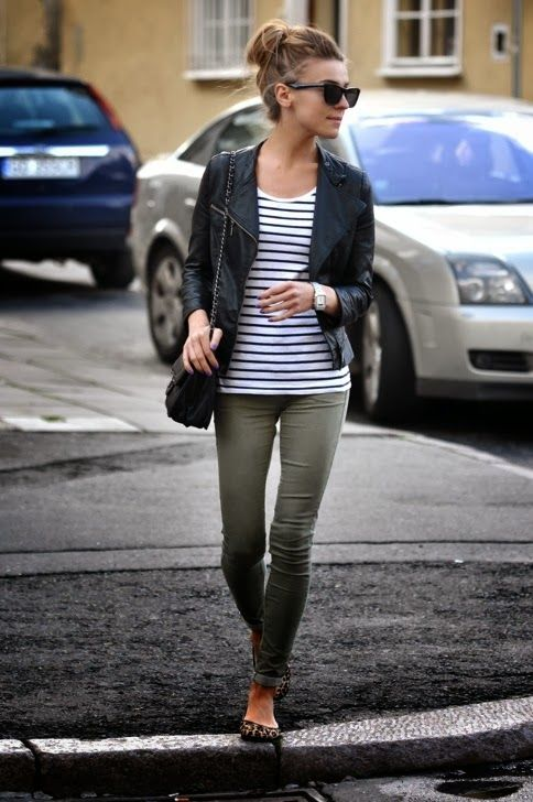Kaki pants, stripes top and leather coat