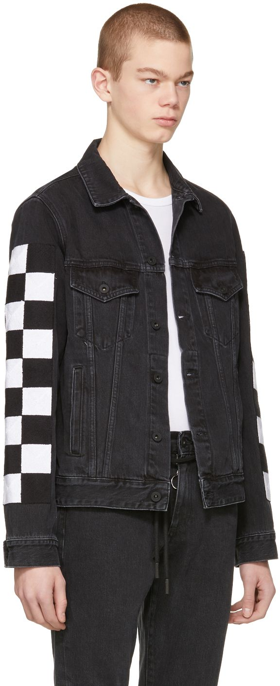 Off White Black Big Check Slim Denim Jacket Slim Denim Denim Jacket Men [ 1412 x 576 Pixel ]