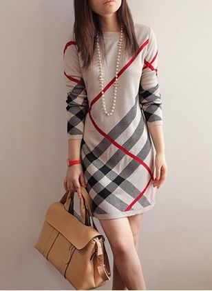 Cotton Blends Tartan Long Sleeve Above Knee Casual Dresses