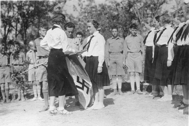 Members of Hitler Youth and League of German girls hold rally in China in 1935