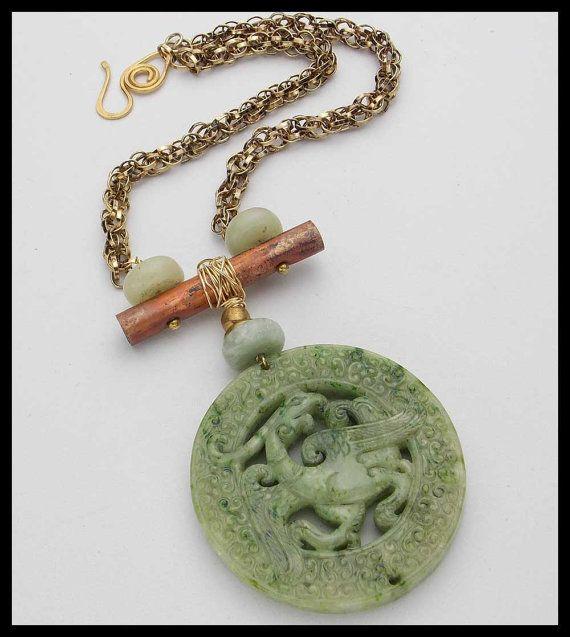 JADA  Vintage Chel Chain  Handcarved Jade by sandrawebsterjewelry