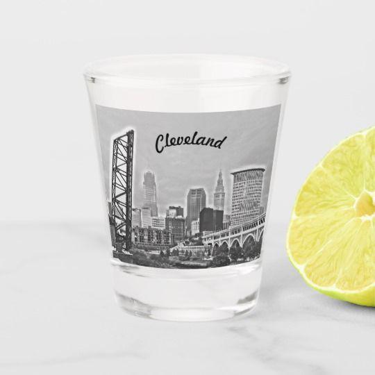 Shot Of Cleveland Bw Shot Glass Glass Shot Glass Glass Design