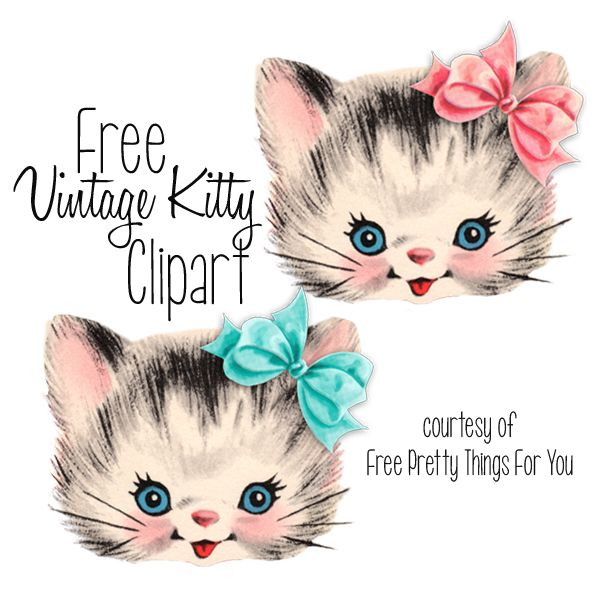 Free Vintage Kitty Cat Clip art by Free Pretty Things For You!