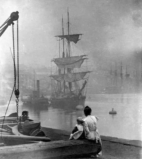 19th-century photo of ship on the Thames.