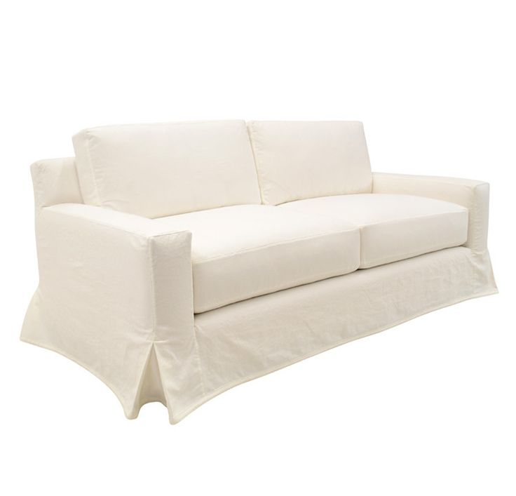 White Slipcovered Sofa With French Skirt New Yorker All Things White Pinterest Products