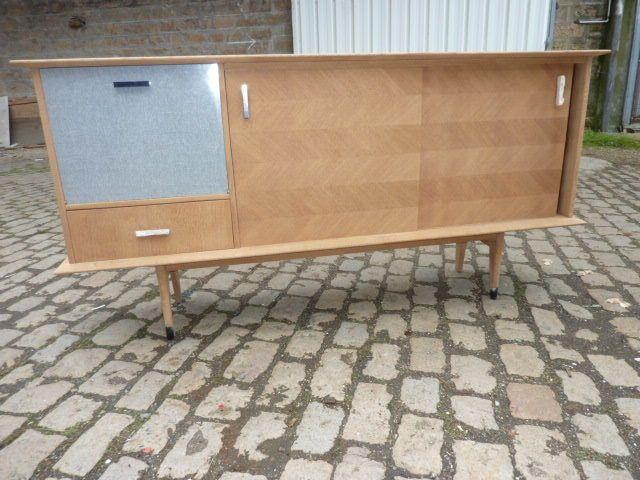 Buffet enfilade meuble vintage 1950 deco scandinave ideal a relooker - Deco vintage scandinave ...