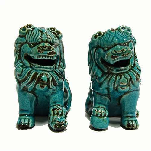 Chinese Porcelain Turquoise Foo Dog Statue Set Ceramic Asian Feng Shui Gift 6 5