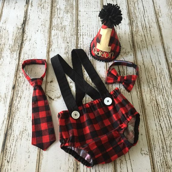 Lumberjack first birthday party outfit with buffalo plaid. Includes party hat, tie, suspenders and diaper cover. So stinkin' cute!!