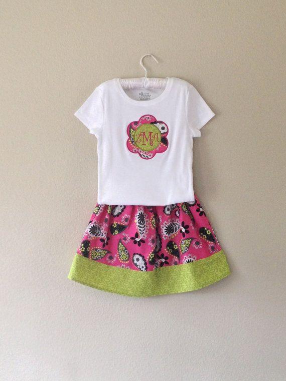 Girls Skirt and Shirt set Paisley print door SweetpeasBumblebees, $36.00