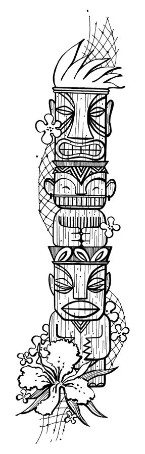"Tiki Drawings Illustration | Description: This is a border for ""Bungalow 3's"" promo package."