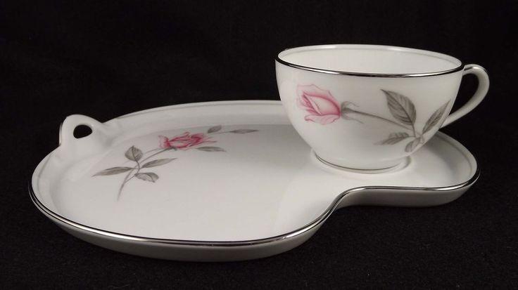 Noritake Rosemarie Tennis Snack Set Cup Plate Pink Rose Japan Blue Wreath White #Noritake #tennissnackcupplate