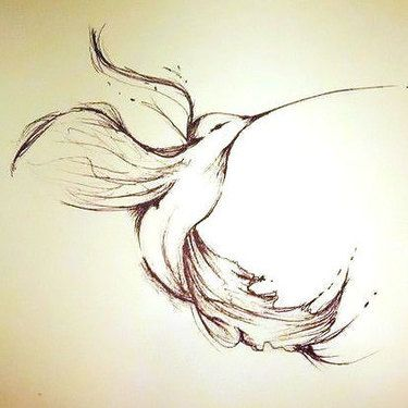 Graceful Hummingbird Tattoo Design