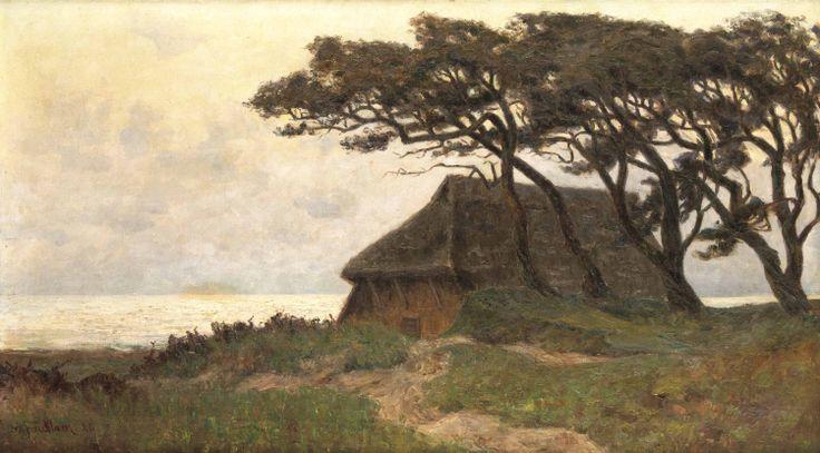 "Facklam, Wilhelm. 1893 Updahl - 1972 Winkelhaid b. Nürnberg. ""Stiller Abend an der Ostsee, Ahrenshoop Pommern"". Öl/Lw. 1928."