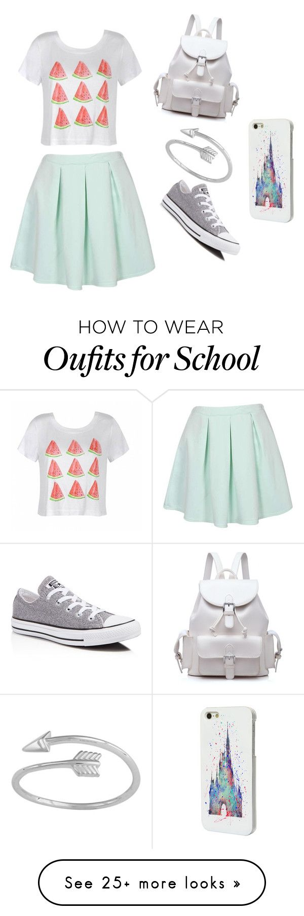 """first day of school"" by kjkjmcra on Polyvore featuring Ally Fashion, Converse and Disney"