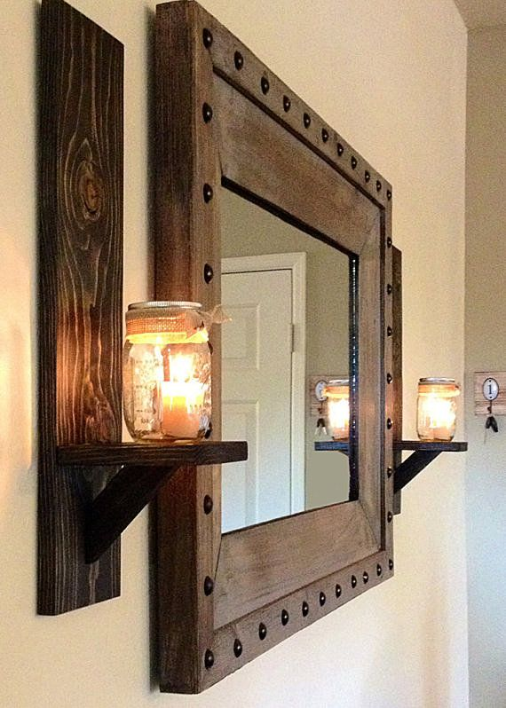 Set of two (2) rustic wall sconces with mason jars (MIRROR/VOTIVE CANDLES NOT INCLUDED). The wood sconces have been cut, sanded, stained and