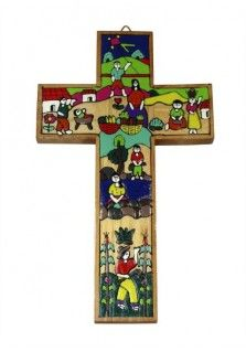 EL SALVADOR WORKERS CROSS 15CM: This 15cm cross was hand painted in El Salvador. It features the image of a village of people at work doing different tasks, washing, farming, cooking and playing. Also available in other sizes.