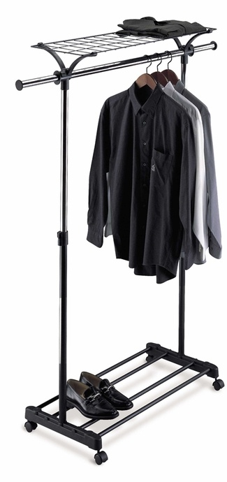 Free Shipping  Adjustable Garment Rack with Wheels   $51.99