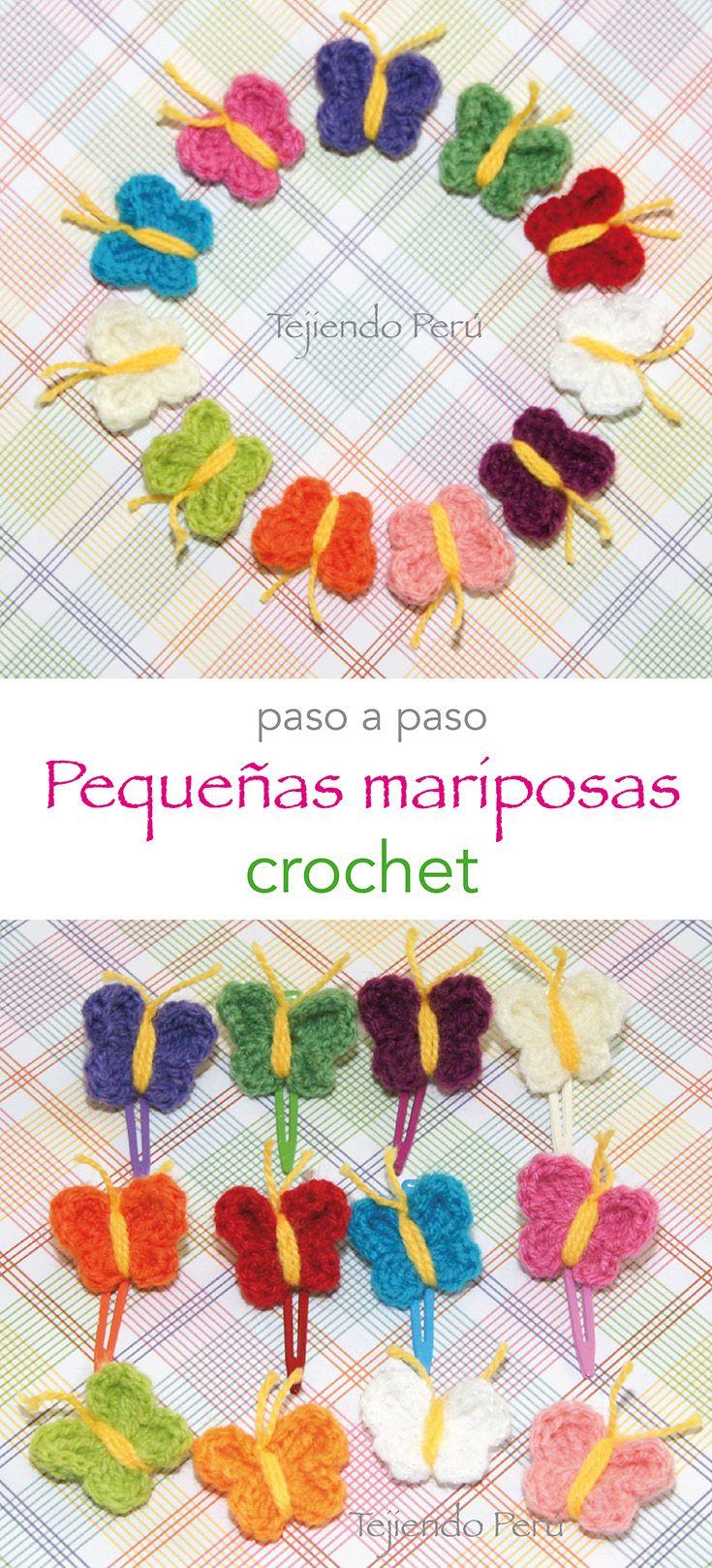 Crochet: mini mariposas! Video tutorial del paso a paso :) ༺✿ƬⱤღ  https://www.pinterest.com/teretegui/✿༻