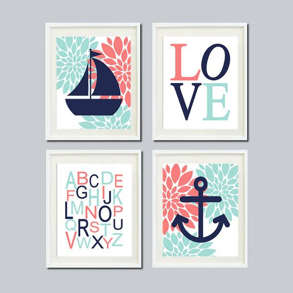Nautical Nursery Wall Art Girl Nursery Decor Dahlia Pink Navy Aqua Nursery Wall Art Anchor Sailboat Love ABC Baby Set of 4 Prints Or Canvas - Choose your colors  ★Includes 4 pieces of wall art Available in PRINTS or CANVAS  ★SIZING OPTIONS Available from the drop down menu above the add to cart button with prices  ★PRINT OPTION Available sizes are 5x7, 8x10, & 11x14 (inches). Prints are created digitally and printed with UltraChrome Hi-Gloss ink on professional 68lb satin luster photo pap...