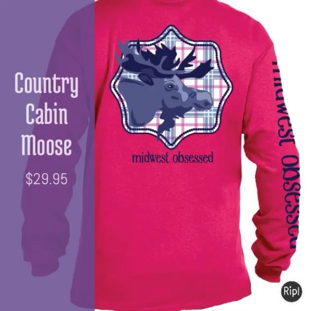 Country Cabin Moose . Long sleeve t-shirt -