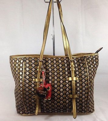 Dolly&Daisy Large Shoulder Tote Handbag With basket Weave Effect Multi Colour