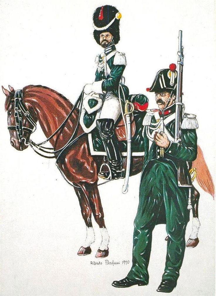 STATO PONTIFICIO - CARABINIERE A CAVALLO, COMPAGNIA SCELTA E CARABINIERE A PIEDI -    Organizzati nel 1835 su 12 Compagnie a piedi e 3 Squadroni a cavallo, i Carabinieri pontifici, simili a quelli del Regno di Sardegna, avevano compiti polizieschi e militari.