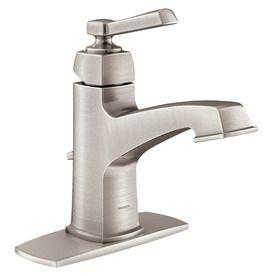 Moen Boardwalk Spot Resist Brushed Nickel 1-Handle Single Hole WaterSense Bathroom Sink Faucet (Drain Included)