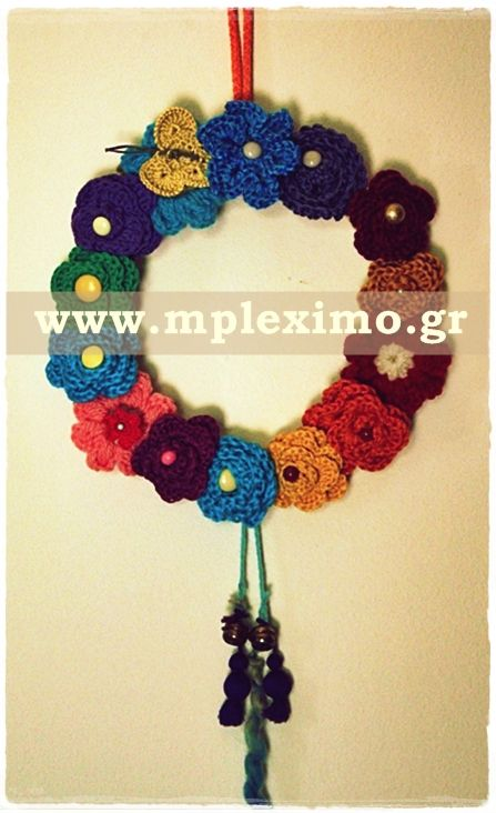 crochet flowers wreath