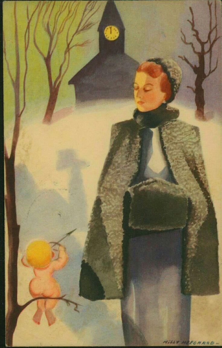 Gratulasjonskort Milly Heegaard Fornem kvinne med Amors pil Utg Damm Postgått 1939