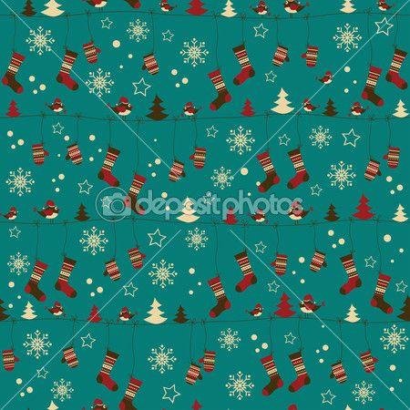 Рождественский фон с народных Носки и варежки — Стоковая иллюстрация #5702169