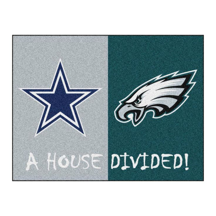 NFL Cowboys / Eagles Gray House Divided 2 ft. 10 in. x 3 ft. 9 in. Accent Rug, Gray/Turquoise