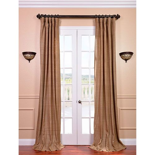 Exclusive Fabrics & Furnishings Sandalwood 84 x 50-Inch Raw Silk Curtain Single Panel