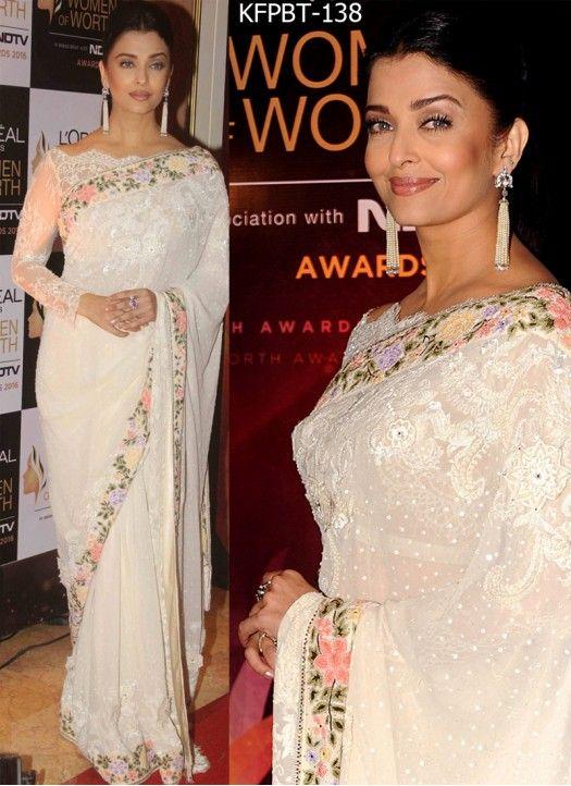 Aishwarya Rai Georgette White Bollywood Saree