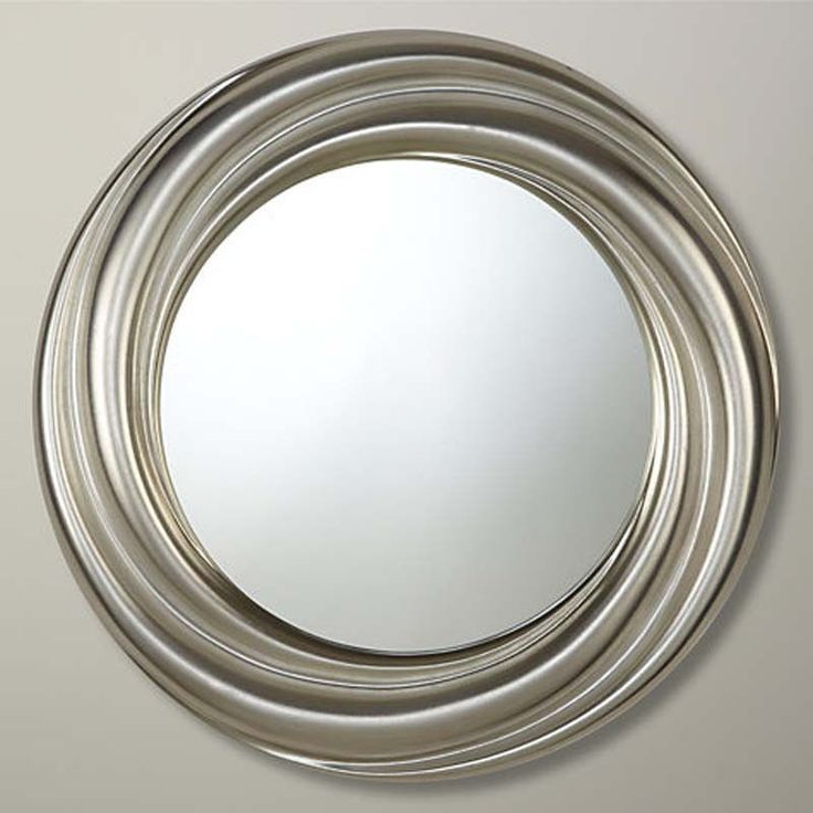 Amazing Large Round Silver Mirror Part - 4: Round Mirror, Contemporay Silver Swirl Round Large Wall Mirror 92cm Diameter