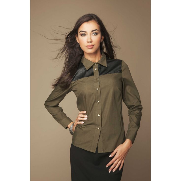 Camasa dama office casual cu inserti din piele eco  #camasiofiice #camasadama