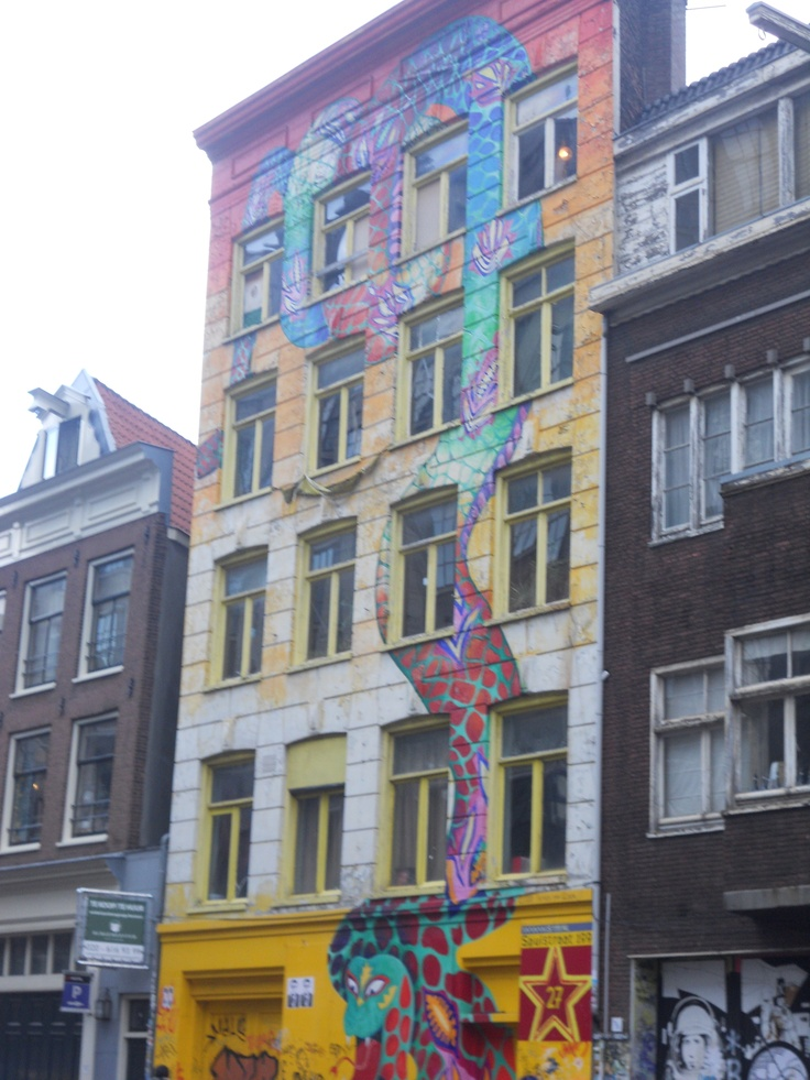 Dragon painted on an building, Holland